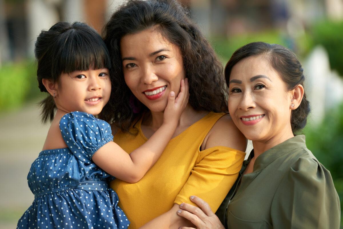 family portrait of three generations of women